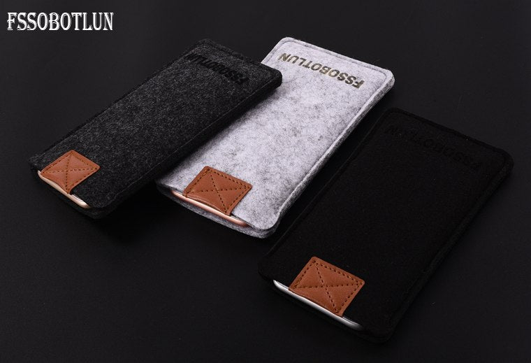FSSOBOTLUN, 3 Colors,Handmade Wool Felt Sleeve Bag Pocket Pouch Phone Protector Case Cover For ZTE Blade V8 Lite 5.0""