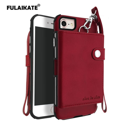 FULAIKATE Striae Strap Universal Case For IPhone 7 Card Pocket Back Cover For IPhone 6 6s Phone Protective Cases For IPhone 8