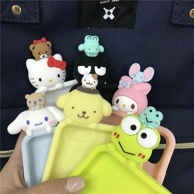 Fashion Cute Cartoon Stereo Silicon Cases For IPhone X 6 6s 7 8 Plus 3D Doll Phone Case Stars Heart Bow Yellow Blue Black Cover