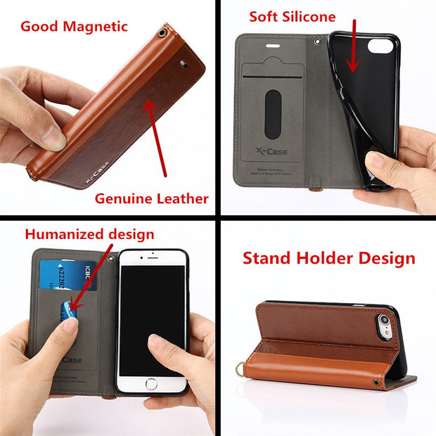 For Cover Iphone 8 7 6 S Plus Luxury Genuine Leather Case For Iphone 6S 7 Plus 5 5S Wallet With Card Stand Flip Phone Cover Capa