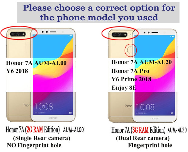 "For Huawei Honor 7A 5.7"" AUM-AL20 With A Fingerprint ID Detachable 2 In 1 Series Flip Case Honor7A Pro Phone Cover Enjoy 8E Bag"