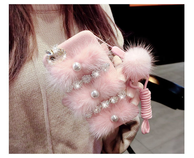 For IPhone X 6 6SPlus 7Plus 8Plus Bling Case,Love Pearl Shiny Sparkling Bow Luxury Rhinestone Diamond With Soft Rabbit Fur Hair