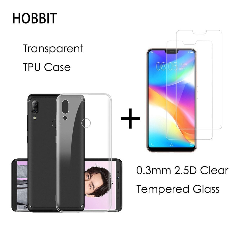 newest 79190 24393 For Lenovo S5 Pro K5 Pro Z5 Pro Transparent TPU Back Cover Case 0.3MM 2.5D  9H Clear Tempered Glass Screen Protector For Lenovo