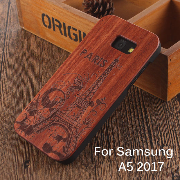 For Samsung Galaxy A5 2017 Wooden Case 100% Natural Carved Eiffel Tower  Sailing Compass Elephant Pattern Phone Cases Covers