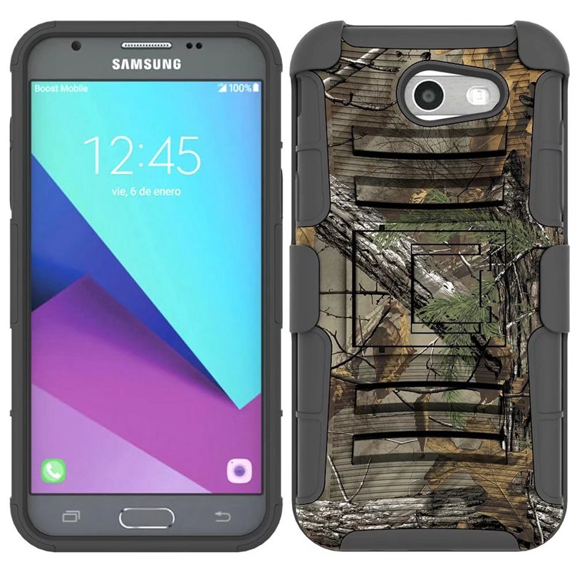 For Samsung Galaxy J3 2017 / J327P US Version Case Hybrid Heavy Duty 3 In 1  Military Camo Hard Shockproof Case Belt Clip Cover