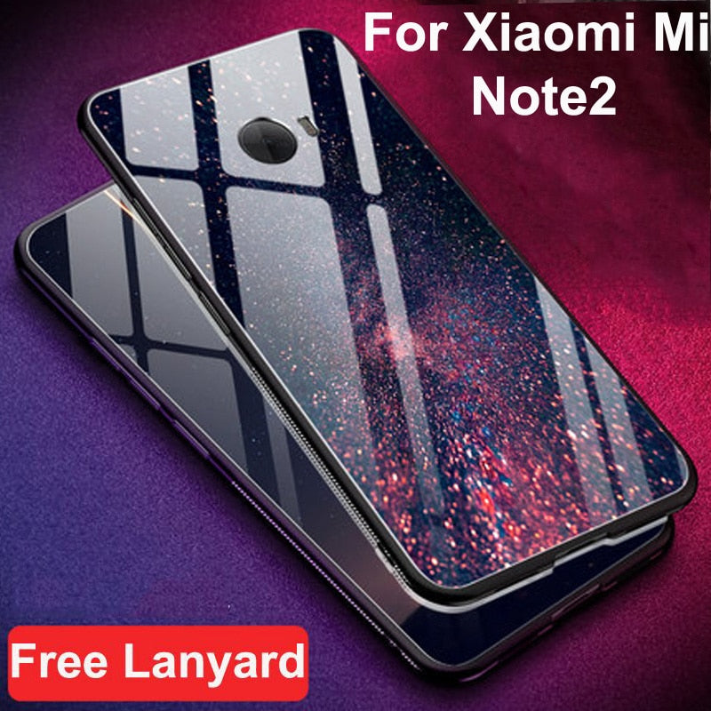 detailed look cb6ea e8930 For Xiaomi Mi Note2 Glass Back Hard Case For Xiaomi Mi Note 2 Case Minote2  Oque Tempered Glass + Soft Silicone Bumper Shell