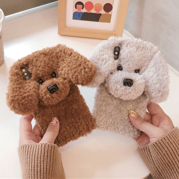 For IPhone 7 Case Cute Rabbit Hair Dog Plush Phone Case For IPhone XS Max XS XR X 8 7 6 6S Plus Case Fur Fluffy Soft Back Cover