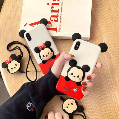 For IPhone XS Max 3D Cute Cartoon Mickey Mouse Minnie Soft Phone Case For IPhone X XR XS 8 7 6s Plus Back Cover+toy Strap