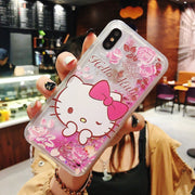 For IPhone XS Max XR X Hello Kitty Case For IPhone 6 6S 7 8 Plus 8Plus Sand Cover Case Bling Liquid Quicksand Case KT Cat Capa