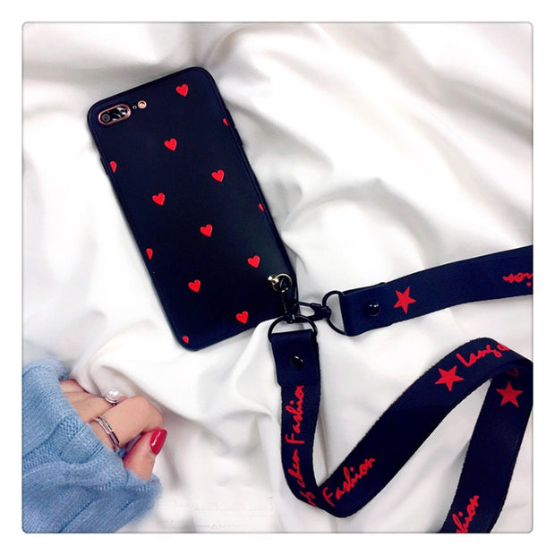 For Iphone 7 7plus 360 Case, Cute Front + Back Love Heart Soft Cover Case For Iphone X 6 6S 6S Plus 8 8plus Lovely Fudas +strap