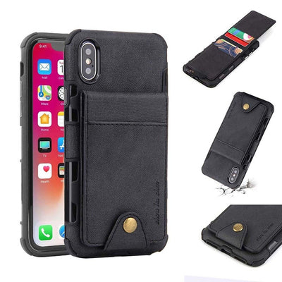 For Iphone 7 Case XR Silicon Armor Flip Wallet Cover For Iphone 8 7 Plus XS Case Coque For Iphone 6 6s Plus XS MAX Canvas Coque