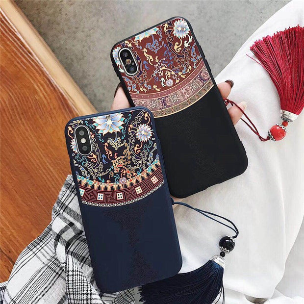 For Iphone X XR XS MAX Chinese Court Wind 3D Embossed Tassel Phone Case For Iphone 6 6s 7 8 Plus Scrub Soft Back Cover Coque