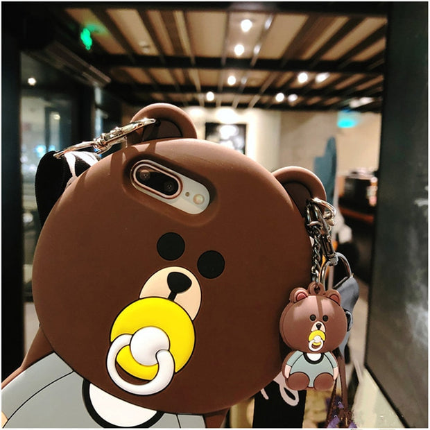 For Iphone XS MAX XR 6s 7 8 Plus X Case Cover Cute 3d Cartoon Bear Soft Silicone With Shoulder Strap Shockproof Phone Bag