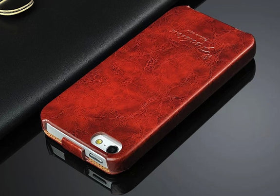 bdf247a343c2 Genuine Leather Vertical Flip Cover Case For Apple IPhone 5 5S SE Top