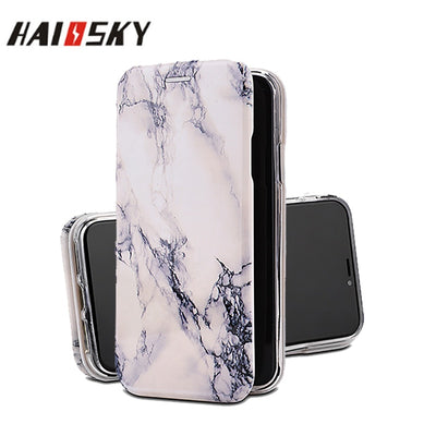 HAISSKY Luxury Marble Leather Flip Case For IPhone XR XS Max Wallet Card Slot Marble Stone Phone Cover For IPhone XS Max Fundas
