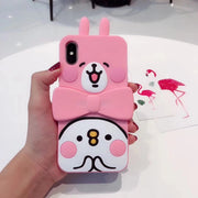 Japanese 3D Kanahei Rabbit Soft Phone Case Cover Skin For IPhone 6 6s 7 7plus 6 Plus Rabbit Silicone Case For Iphone X