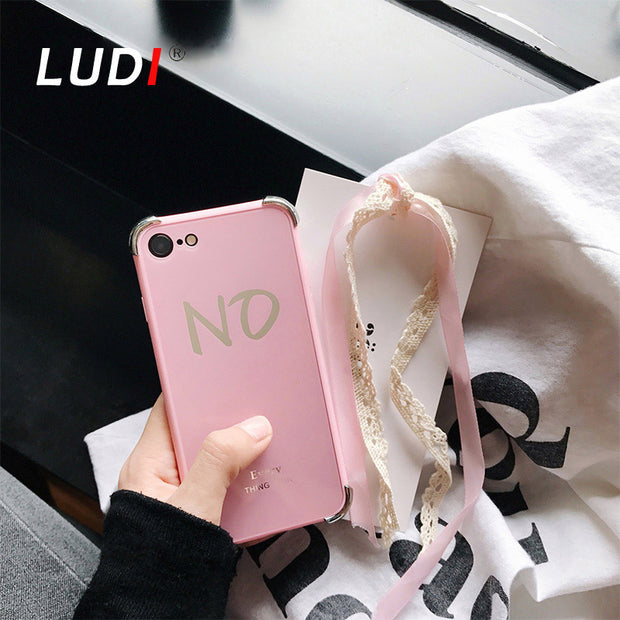 LUDI Fashion Pink Black Letter Mirror Shiny Case For IPhone 6 6s For IPhone X 7 7plus 8 8plus New Fundas For Men And Women