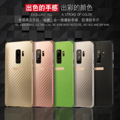 Luxury Hybrid Case For Samsung Galaxy S9 Hard Carbon Fiber Metal Bumper+PC Protective Back Cover For Samsung S9 Plus