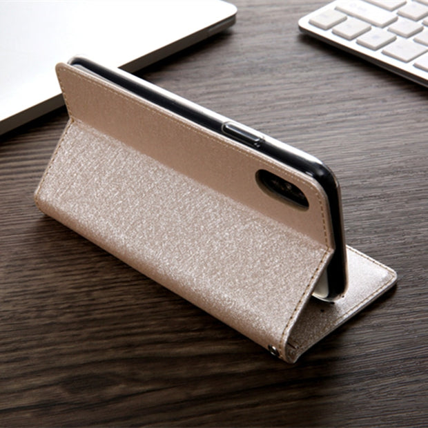 Luxury Silk Leather Case Cover For Iphone X Magnetic Flip Wallet Case Bag For Iphone 8 8 Plus 7 7 Plus 6 6s Plus PU Leather Case