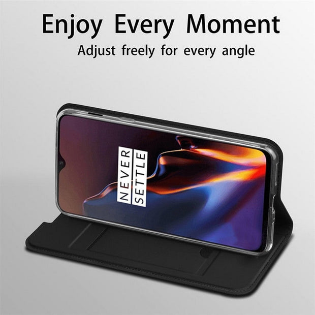 Luxury Voltage Magnetic Flip Wallet Phone Case For OnePlus 6 6T Slim PU Leather Card Holder Cover For Oneplus 6T 5 5t Book Cases