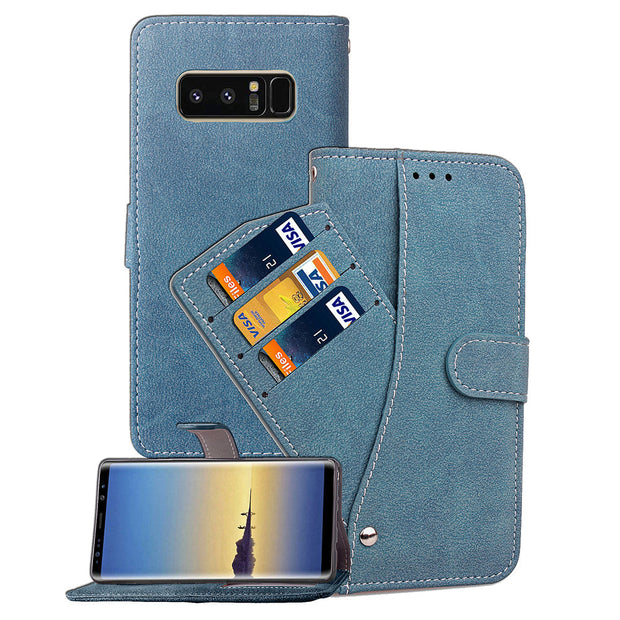 Note8 Rotary Card Slot Scrub Leather Case For Samsung Galaxy Note 8 Flip Cases Black Covers Function Wallet Cover SM N950 N950F