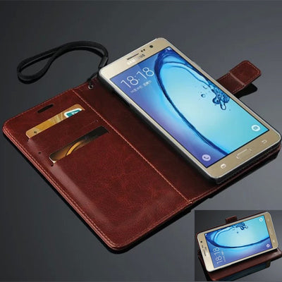 ON 7 For Samsung Galaxy ON7 G6000 Case Book Style Flip Wallet Card Slot Stent Cases Oil Wax Leather Cover Black Covers SM G 6000
