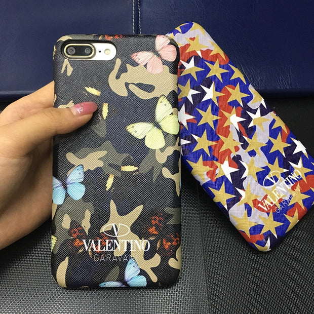 Phone Case For Iphone X Xs Max Xr 10 8 7 6 6s Plus Luxury Pu Leather Valentino Camouflage Stars Butterfly Cases Hard Cover Coque