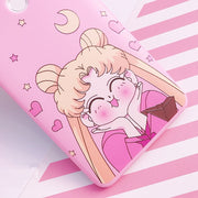 Pink Sailor Moon Cover For Huawei V10 P10 Plus TPU Case + Front Tempered Glass For Huawei Mate 10 /mate8 /mate9pro +strap
