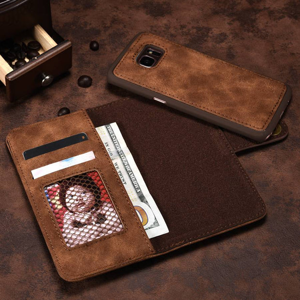 Removable Back Cover Case For Samsung Galaxy S7 Metal Button Capas Grid Photo Frame Inside Genuine Leather Surface PU Coque