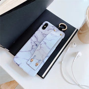 Retro Wrist Strap Phone Case For IPhone XS MAX Case For IPhone X XR 6 6S 7 8 Plus Case Luxury Matte Marble Patterned Back Cover