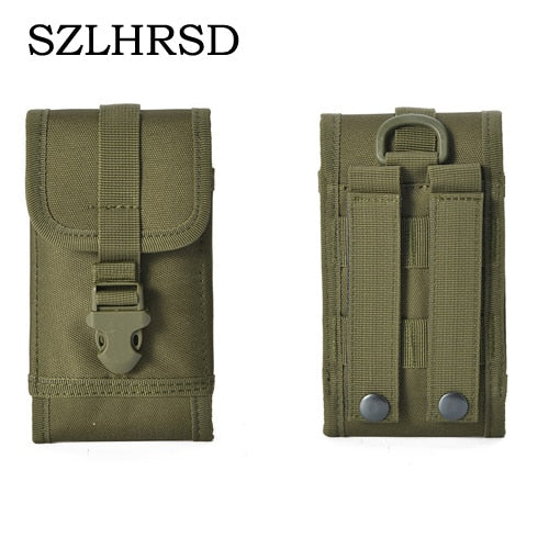 SZLHRSD For Panasonic Eluga Case Outdoor MOLLE Army Camo Camouflage Bag Hook Loop Belt Pouch For Xiaomi Redmi 5 Plus /Gionee F6