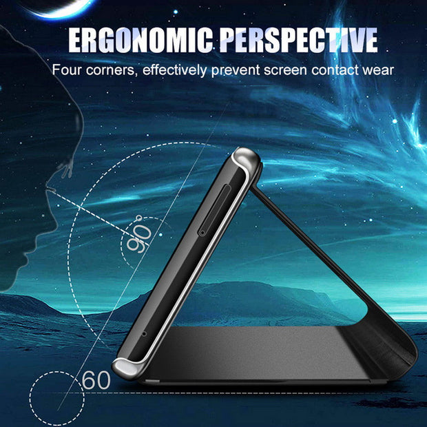 Smart Mirror Flip Phone Case For OnePlus 6T 6 5T Clear View Window Hard PC Stand Cover For One Plus 6 5T 6T Kickstand Capa Coque