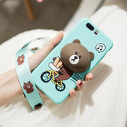 Soft Silicone Matte Case For Huawei Honor 9 V9 Honor 9 Lite V9 Play Back Cover Cute 3D Cartoon Bear Rabbit Stand Protector Funda