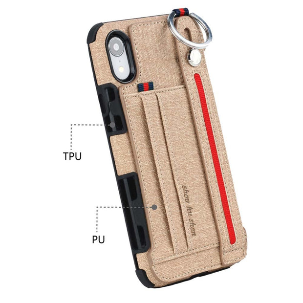 Sport Case For IPhone XS Max XR Card Slot Hiking Leather Cases PU TPU Handheld Metal Ring Phone Cover For Coque IPhone XS Max XR