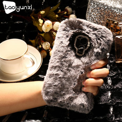 TAOYUNXI Rabbit Fur Case For Huawei Honor 5C GT3 Honor 7 Lite GR5 Mini Case Cover Soft TPU Silicon Bag Housing Diamond Cover