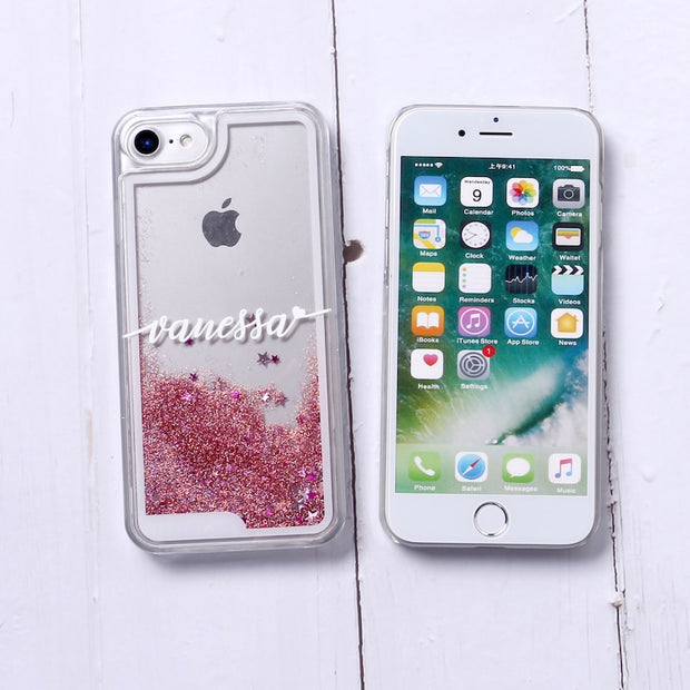 TOMOCOMO Personalized Custom Liquid Glitter Silver Sparkle Name Text Hard Phone Case For IPhone 6 6S XS Max 7 7Plus 8 8Plus X 5