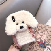Tfshining Cute Rabbit Hair Dog Plush Phone Case For IPhone XS Max XS XR 8 7 6 6s Plus Fur Fluffy Soft Silicone Back Cover Shell