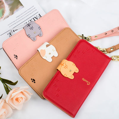Universal Cute Cat Button Leather Wallet Case For Huawei P8 P9 P10 P20 Lite Honor 8 9 Lite Honor 10 8X Case Magnetic Flip Cover