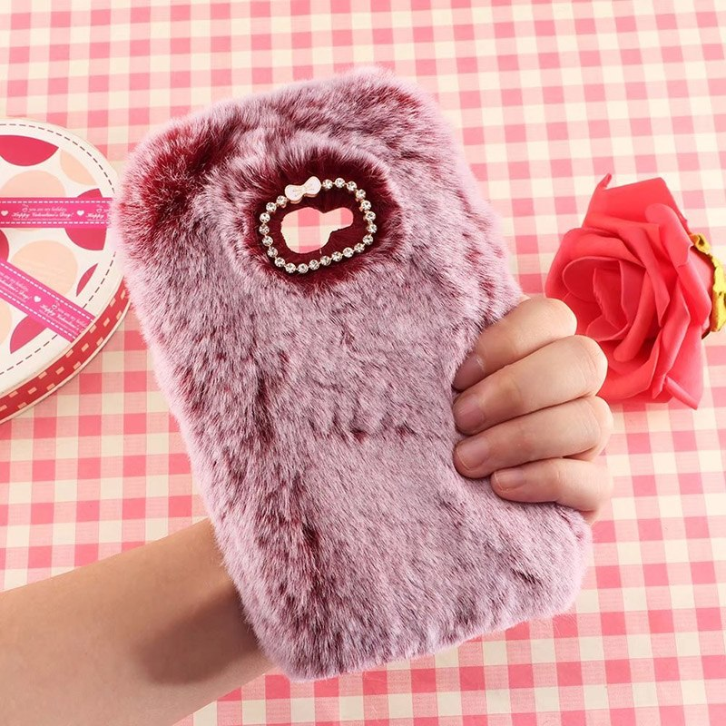 Vonada Fluffy Case For Samsung Galaxy C5 Pro / C7 Pro / C9 Pro Cute Plush Fur TPU Diamond Jewelled Soft Phnoe Back Case Cover