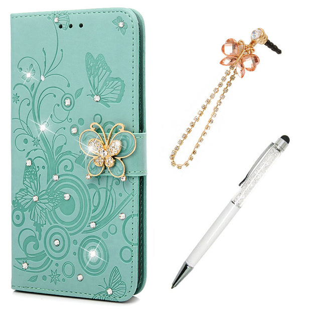 Wallet Case For IPhone XS Max Cover Bling Butterfly Rhinestone Retro PU Leather Flip Phone Case For IPhone XS Max Cases Cover