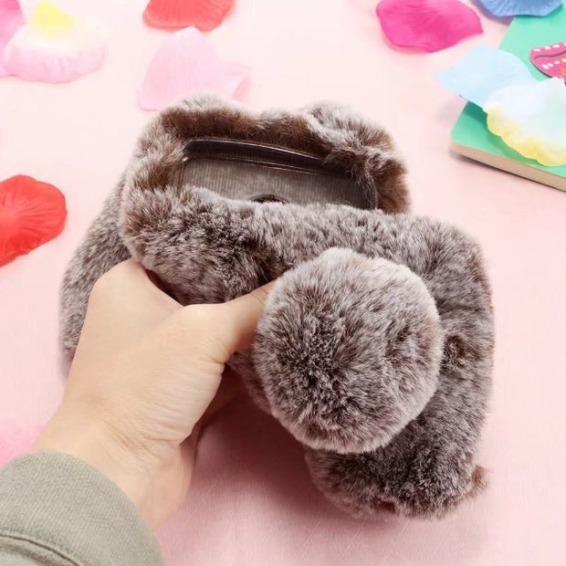 Warm Cute 3D Rabbit Fluffy Fur Plush Coque Case For Motorola Moto X4 Hairy Bunny Soft Furry Shell Diamond Bowknot Celular Cover