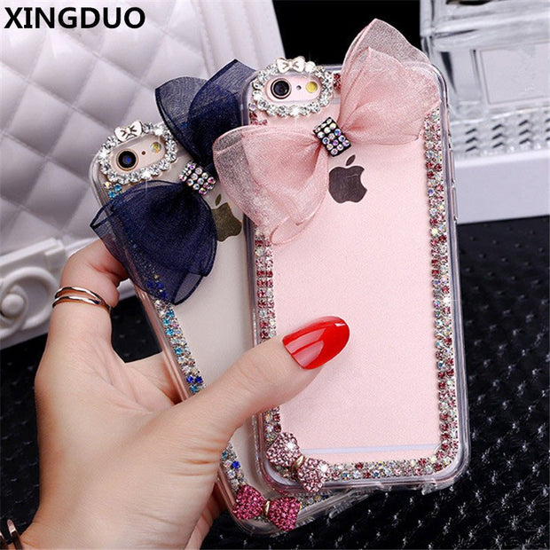 XINGDUO For IPhone 5 5S SE 6 7 8 Luxury Cute Bow Lace Bowknot Rhinestone Diamond Soft Case Cover For Iphone X XS MAX XR Shell