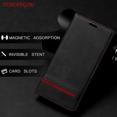 YISHANGOU Flip Card Slots Stand Holder Wallet Case For Samsung Note 8 9 S8 S9 Plus For IPhone X XR XS Max 6 6S 7 8 Plus Purse
