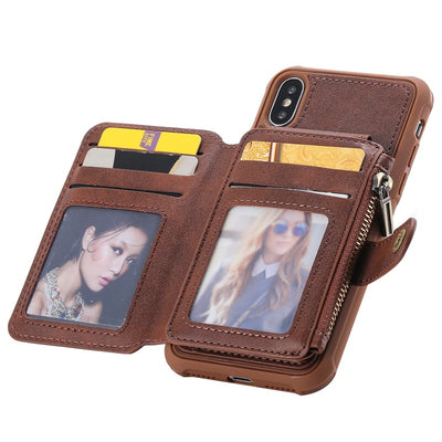 YISHANGOU Zipper Wallet Case For IPhone 6 6s Plus X 7 8 Cases PU Leather Flip Card Holder Stand Back Cover For IPhone X 7 8 Plus