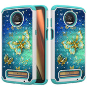 ZZCAJA Bag For Motorola Z3 Play Case Hybrid Shockproof Diamond Studded Bling Rhinestone Dual Layer Cover For Moto Z3 Phone Funda