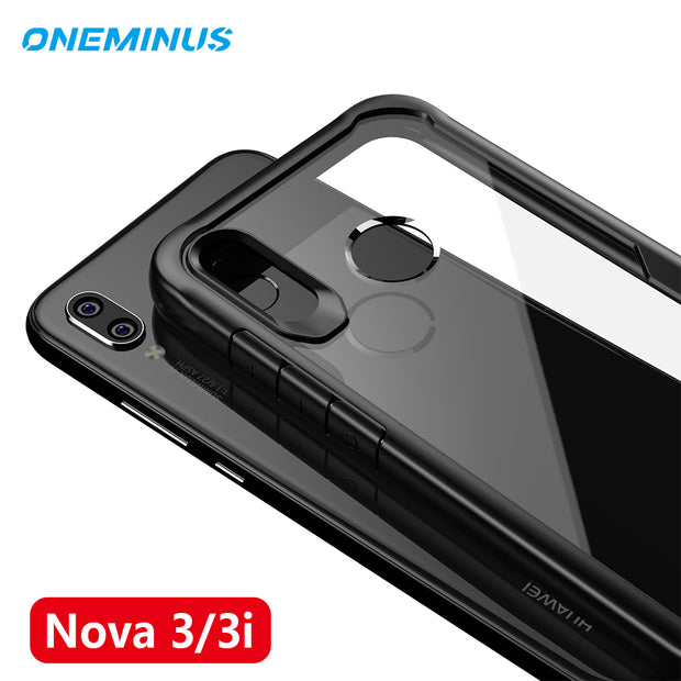 For Huawei Nova 3 Case 3i Clear Silicone Soft Frame & Acrylic Transparent Hard Back Phone Cover Nova3 Shell Capa Coque Bag Shell
