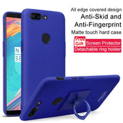 SFor OnePlus 5T Case IMAK Hard PC Plastic Back Cover Ring Holder Case For OnePlus 5T One Plus 5T Cases Gift Screen Protector