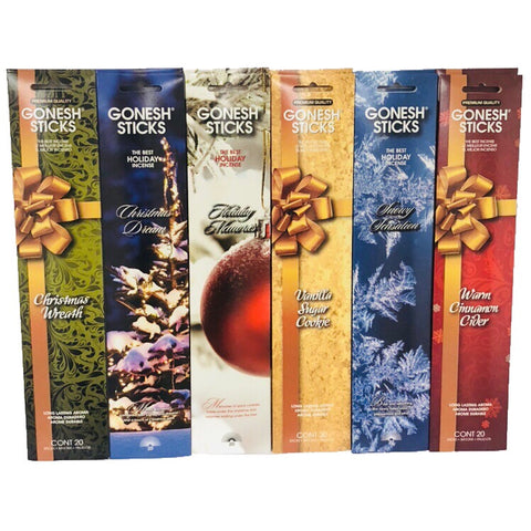 Winter Holiday Variety Gift Pack Incense 12 Pk (240 Sticks) Assortment GONESH