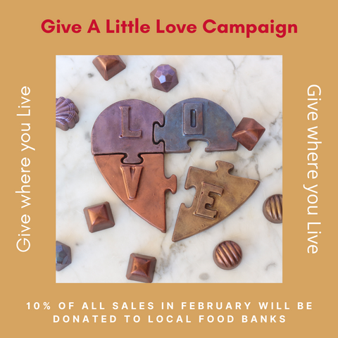 """Give a Little Love"" Chocolate Heart Puzzle with a Key in a Red Heart Box"
