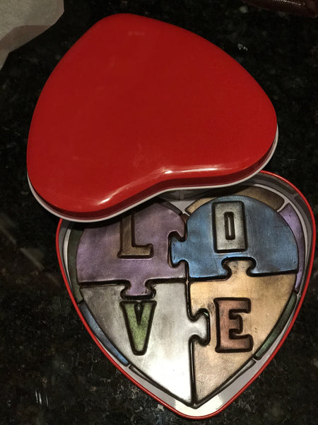 Hand Painted Chocolate Heart Puzzle in Red Heart Box